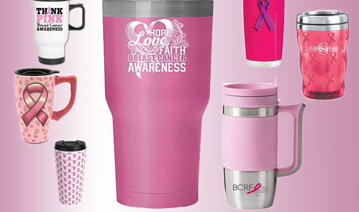 Pink Travel Coffee Cups For Breast Cancer Awareness